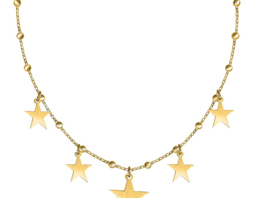 Sirius – Colier tip salba cu stelute din argint placat cu aur galben 24K, pentru o vara de neuitat!