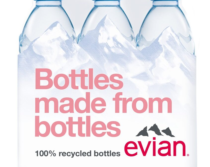 Evian 0,5l  în ambalaj rPET, din plastic 100% reciclat, este acum disponibil și în România